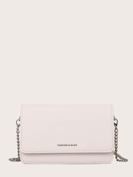 Letter Graphic Flap Chain Crossbody Bag