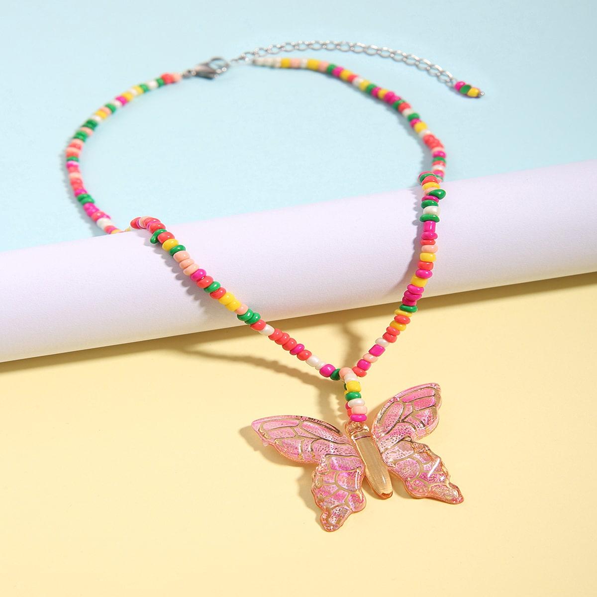 SHEIN / Mädchen Halskette mit Schmetterling Anhänger und Kette