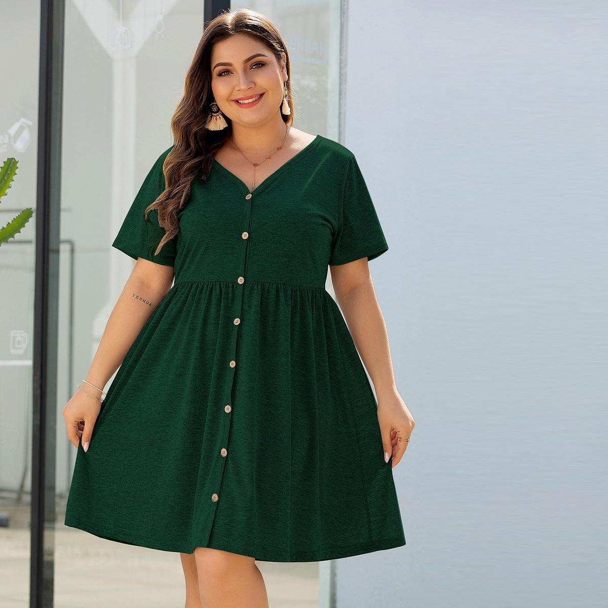 SHEIN / Knöpfen vorn Einfarbig Lässig Kleider Große Größen