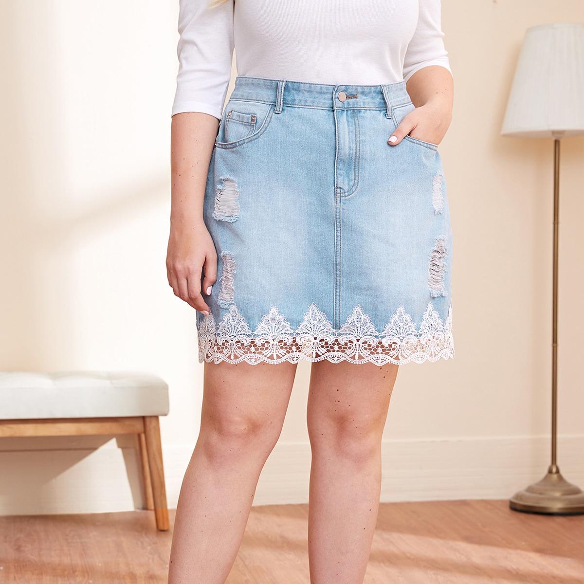 Рваная джинсовая юбка размера плюс с кружевной отделкой