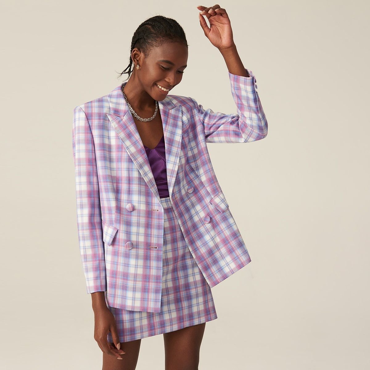 Peak Collar Plaid Blazer and Skirt Set