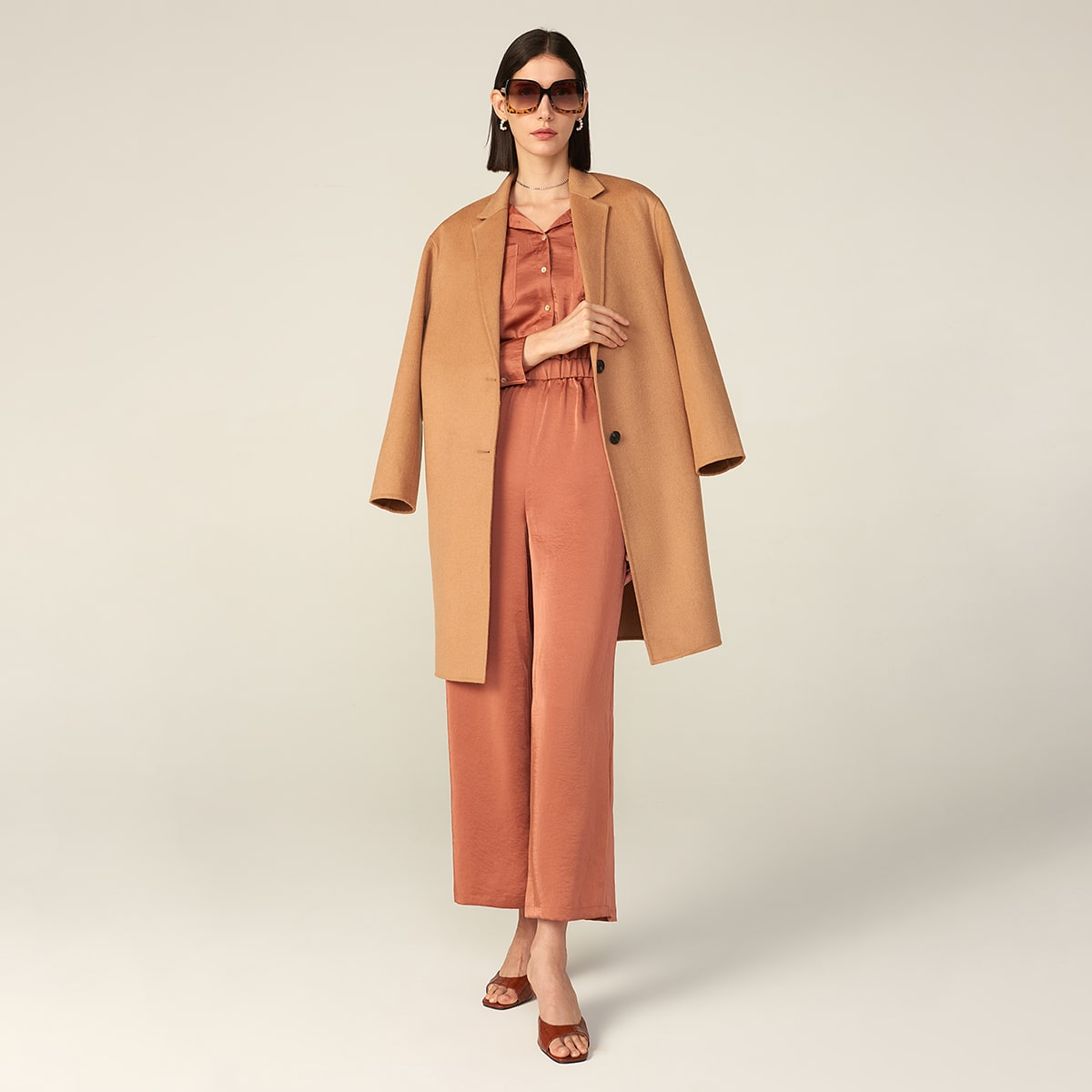 WOOL-MIX RELAXED SINGLE BREASTED COAT