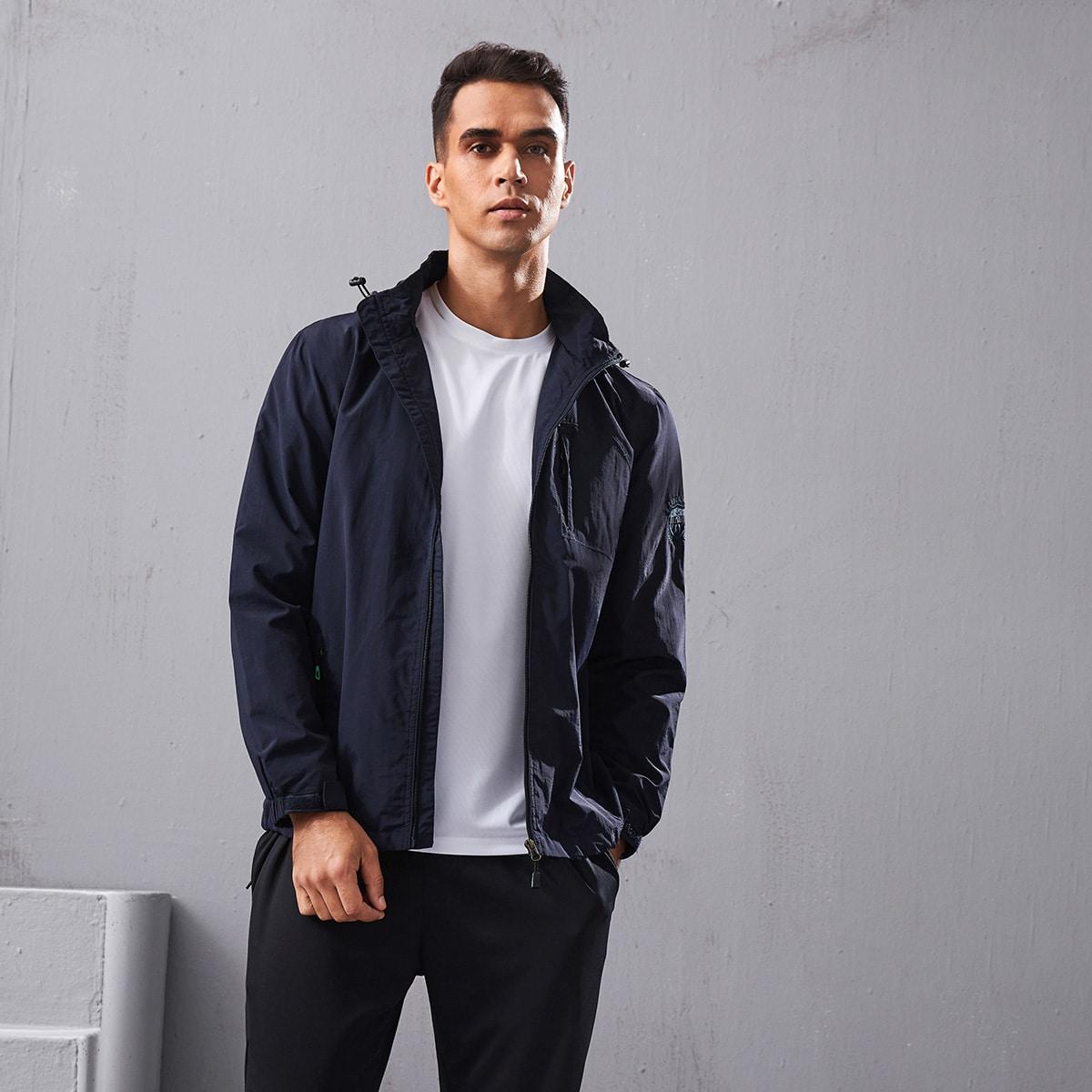 Мужская спортивная куртка с молнией и съемным