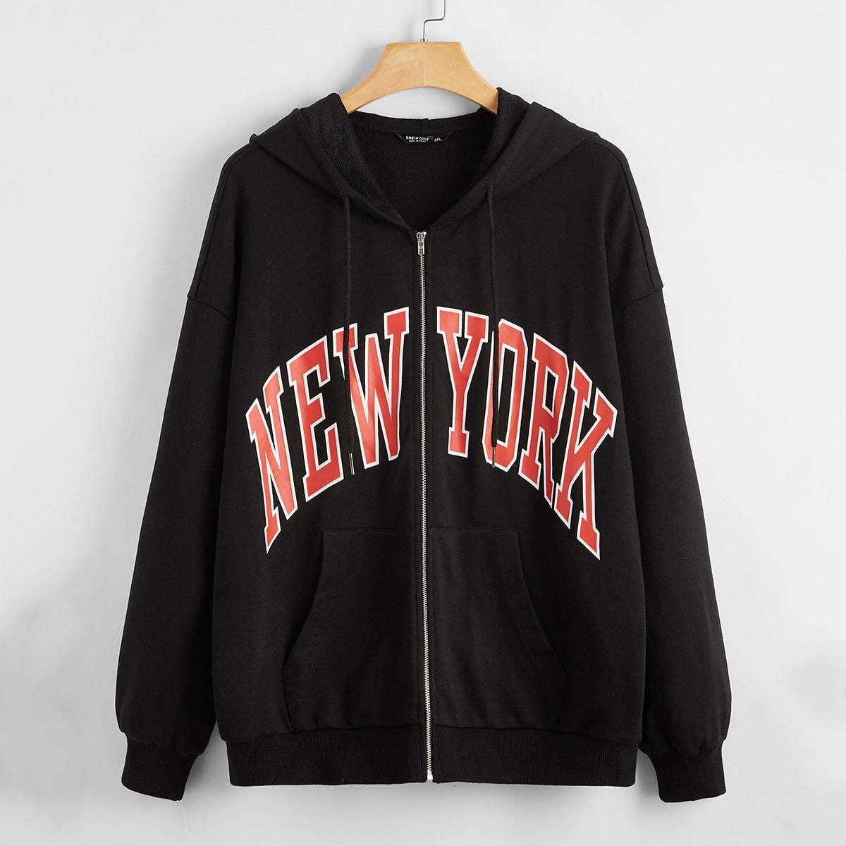 SHEIN / Plus Drop Shoulder Letter Graphic Zipper Placket Hooded Sweatshirt