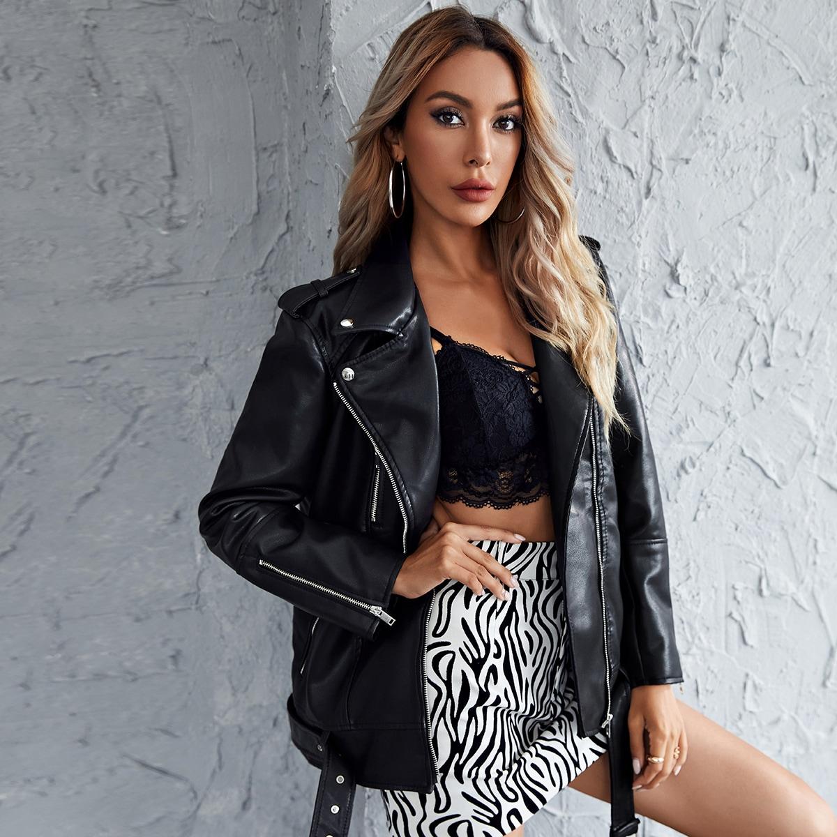 SHEIN / PU Jacke mit Reverskragen, Reißverschluss Detail und Gürtel