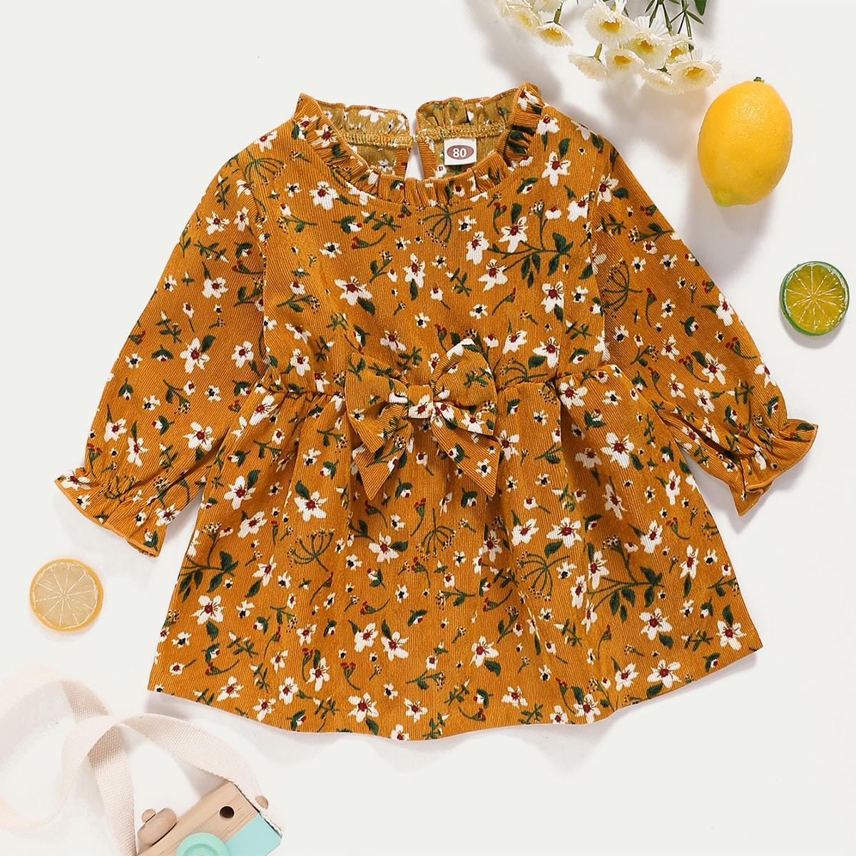 shein Boho Bloemen Baby-jurk Knoop