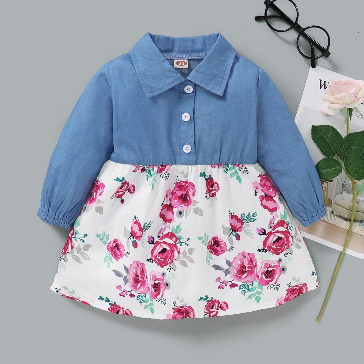 shein Casual Bloemen Baby-jurk Voorpand met Knoopjes