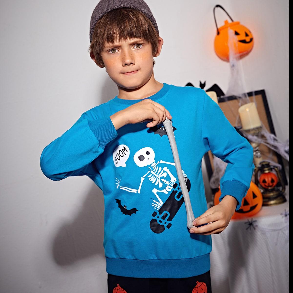 Пуловер с принтом черепа для мальчиков