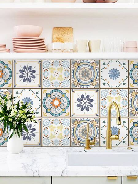 1pc Abstract Flower Pattern Ceramic Tile Sticker
