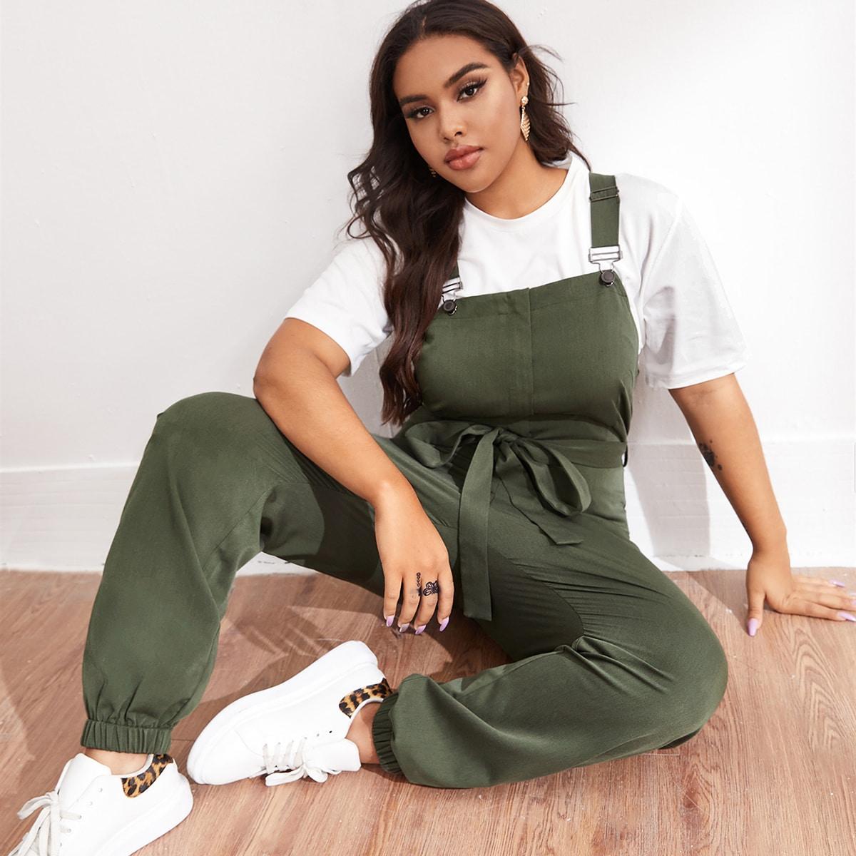 SHEIN / Einfarbiger Overall Jumpsuit mit elastischem Saum und Gürtel