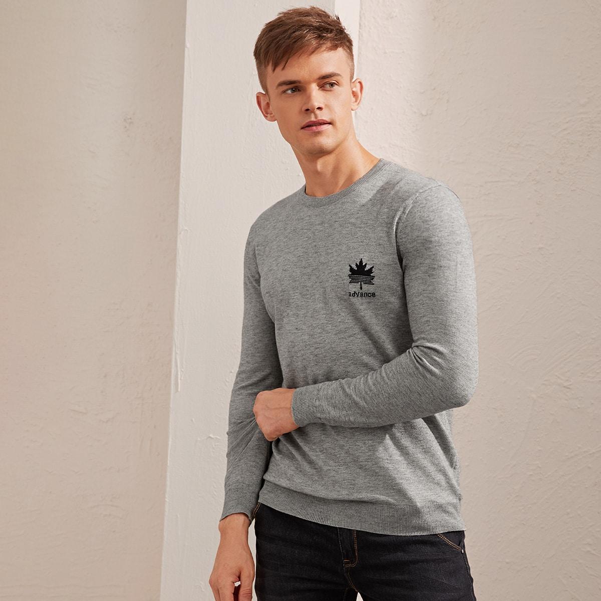 Мужской свитер с принтом кленового листа