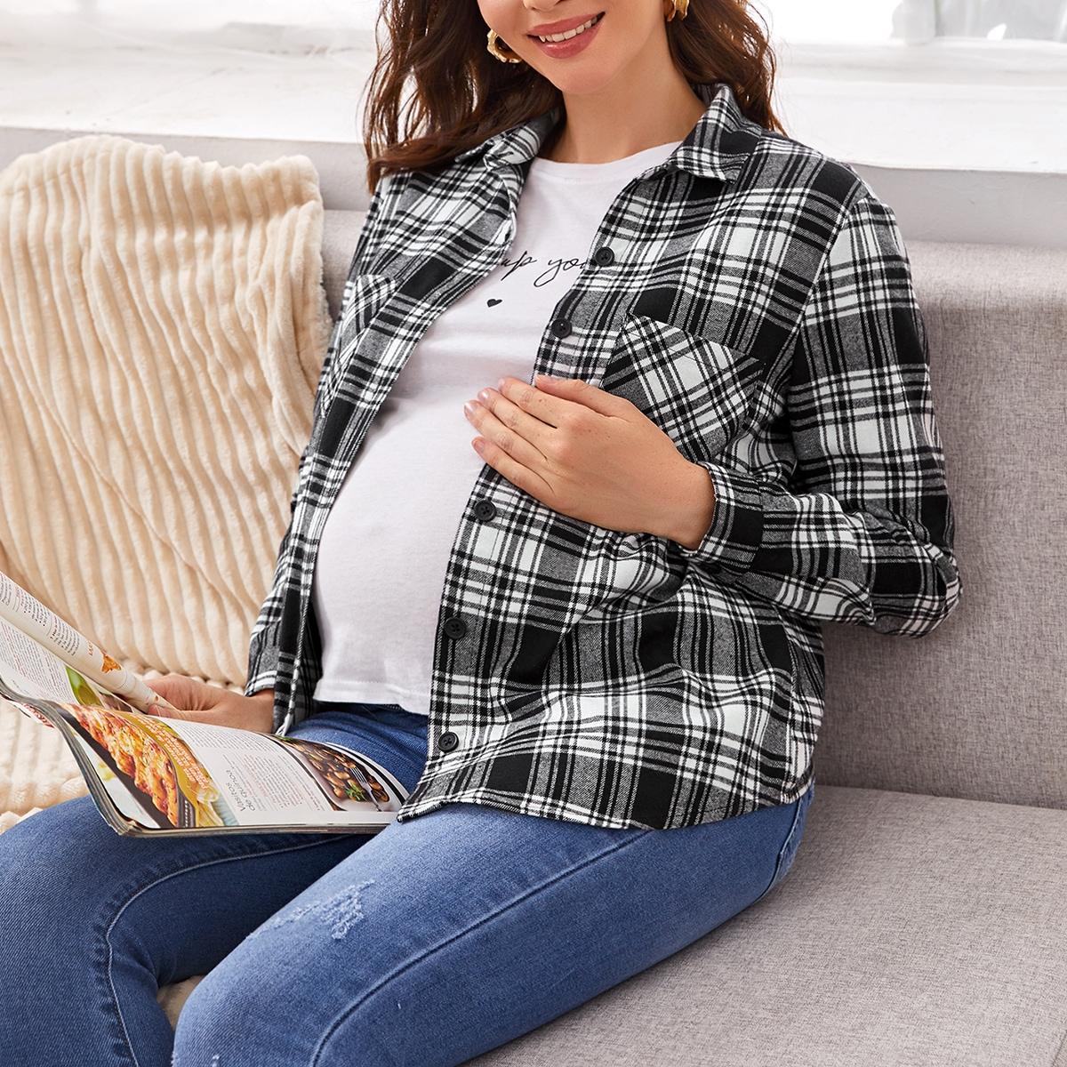 Блузка в клетку с карманом для беременных