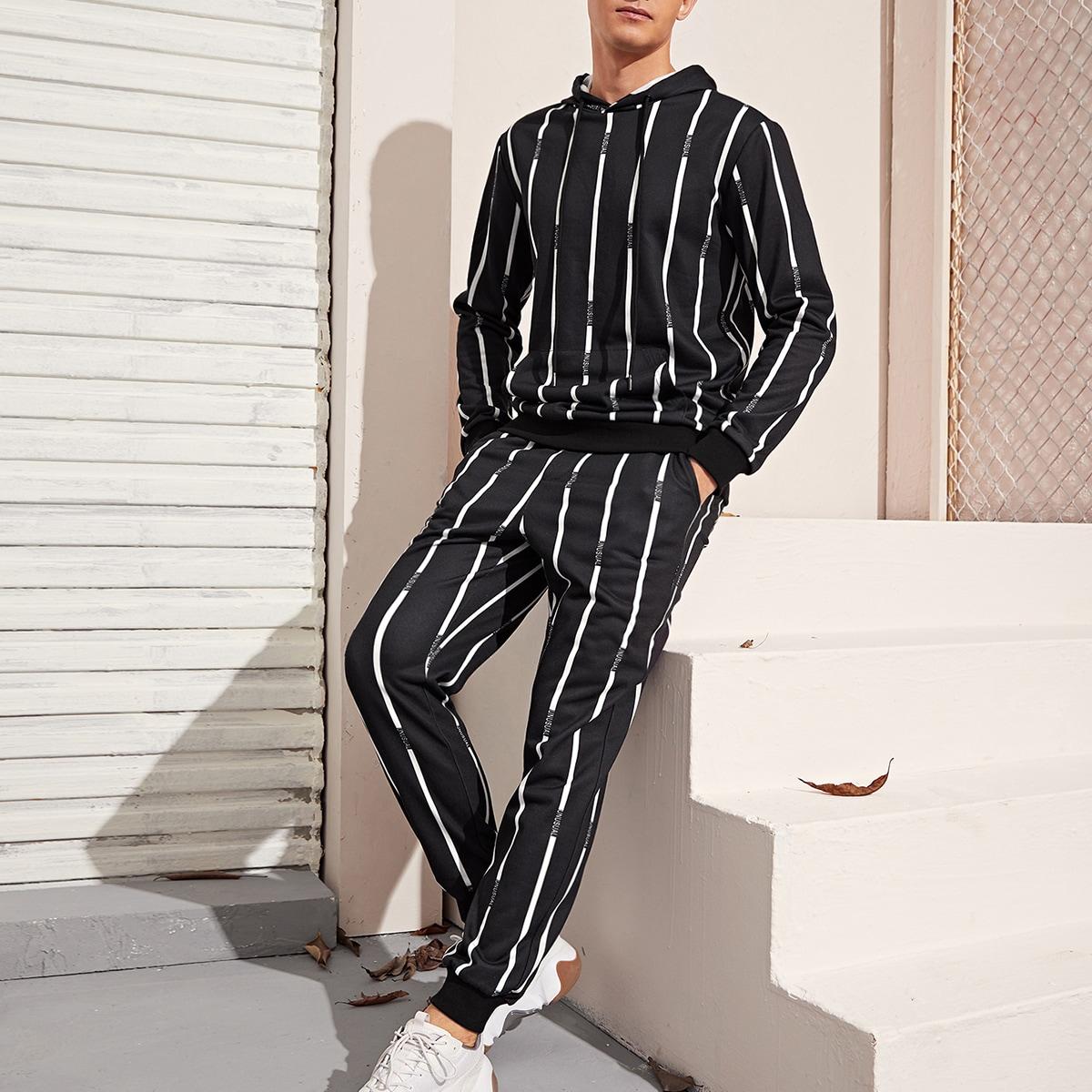 Мужская толстовка и спортивные брюки в полоску