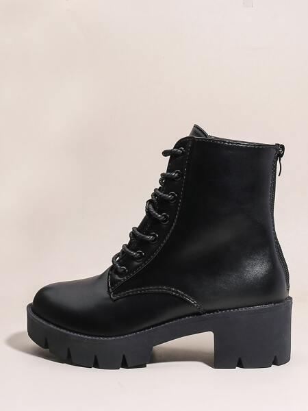 Faux Leather Lace-Up Combat Boots