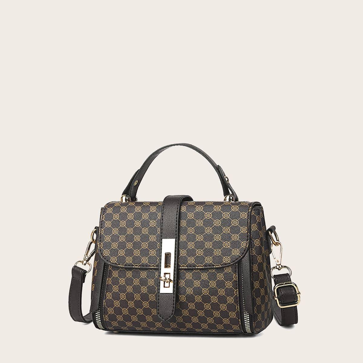 SHEIN / Twist Lock Graphic Satchel Bag