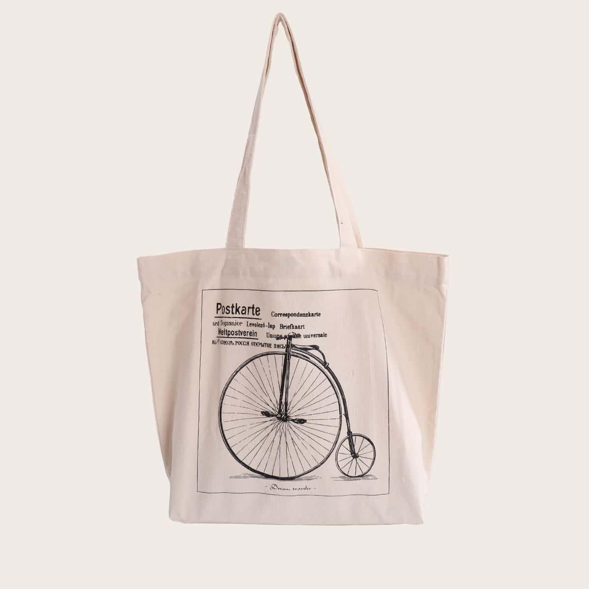 SHEIN / Bolsa de compra con estampado de letra y bicicleta