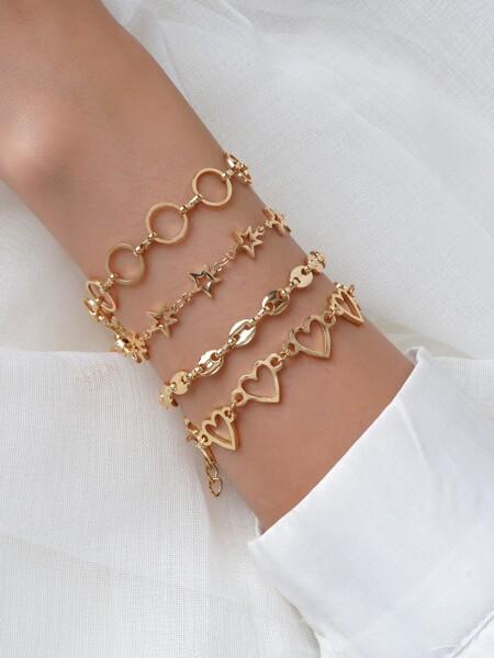 4pcs Heart & Star Decor Bracelet