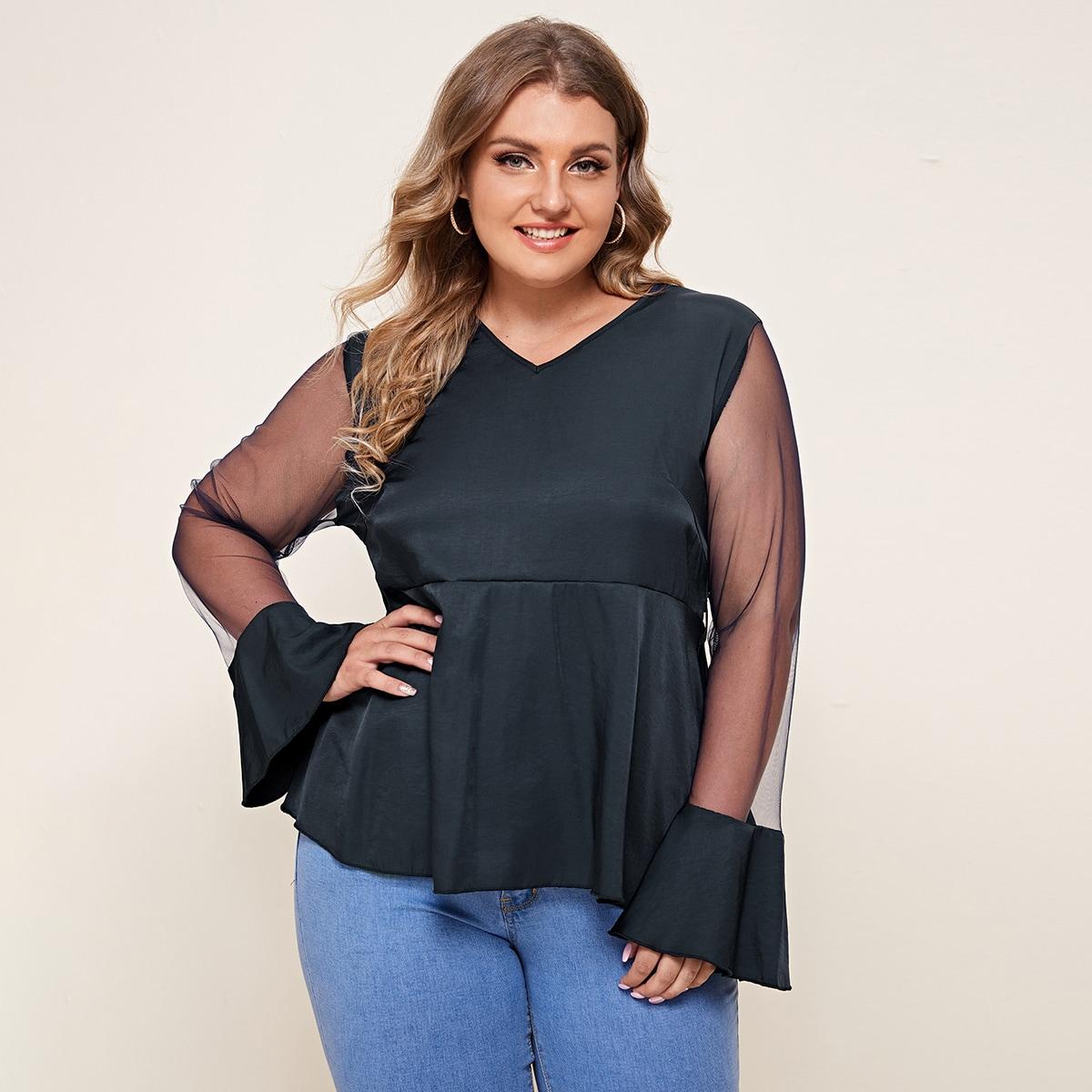 Блуза размера плюс с сетчатым рукавом