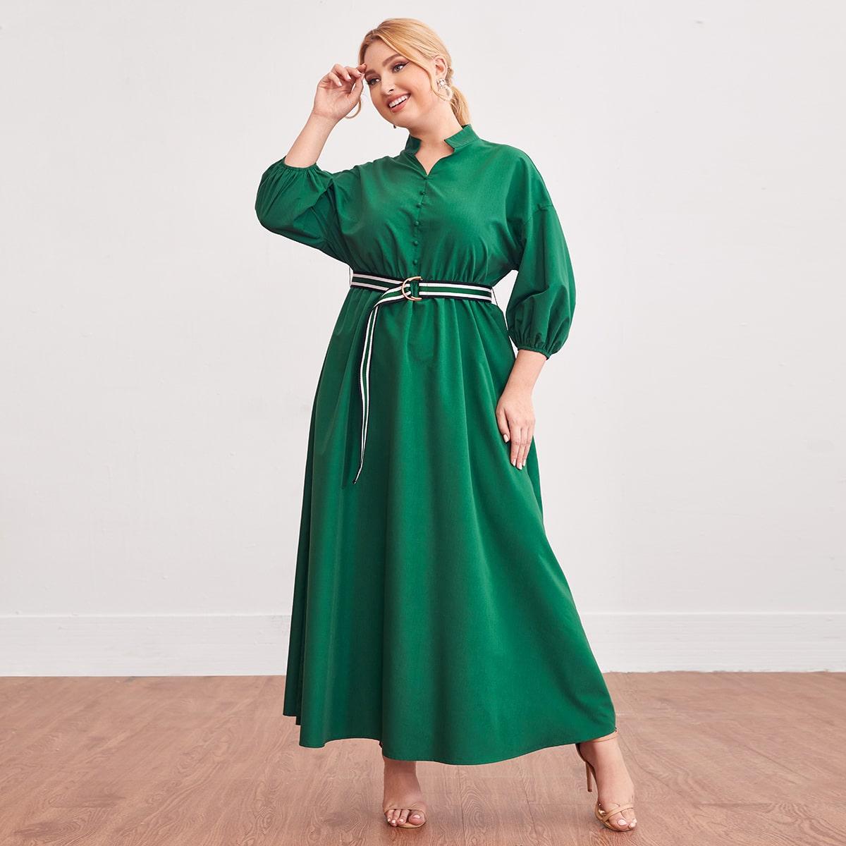 SHEIN / Hemdkleid mit sehr tief angesetzter Schulterpartie & Gürtel mit Streifen und Schnalle