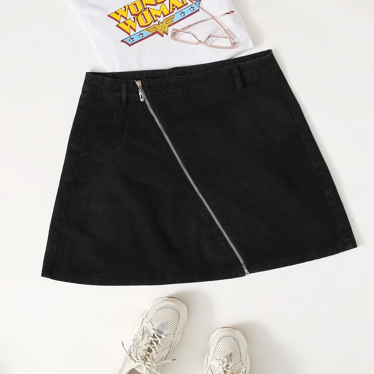Расклешенная джинсовая юбка на молнии размера плюс