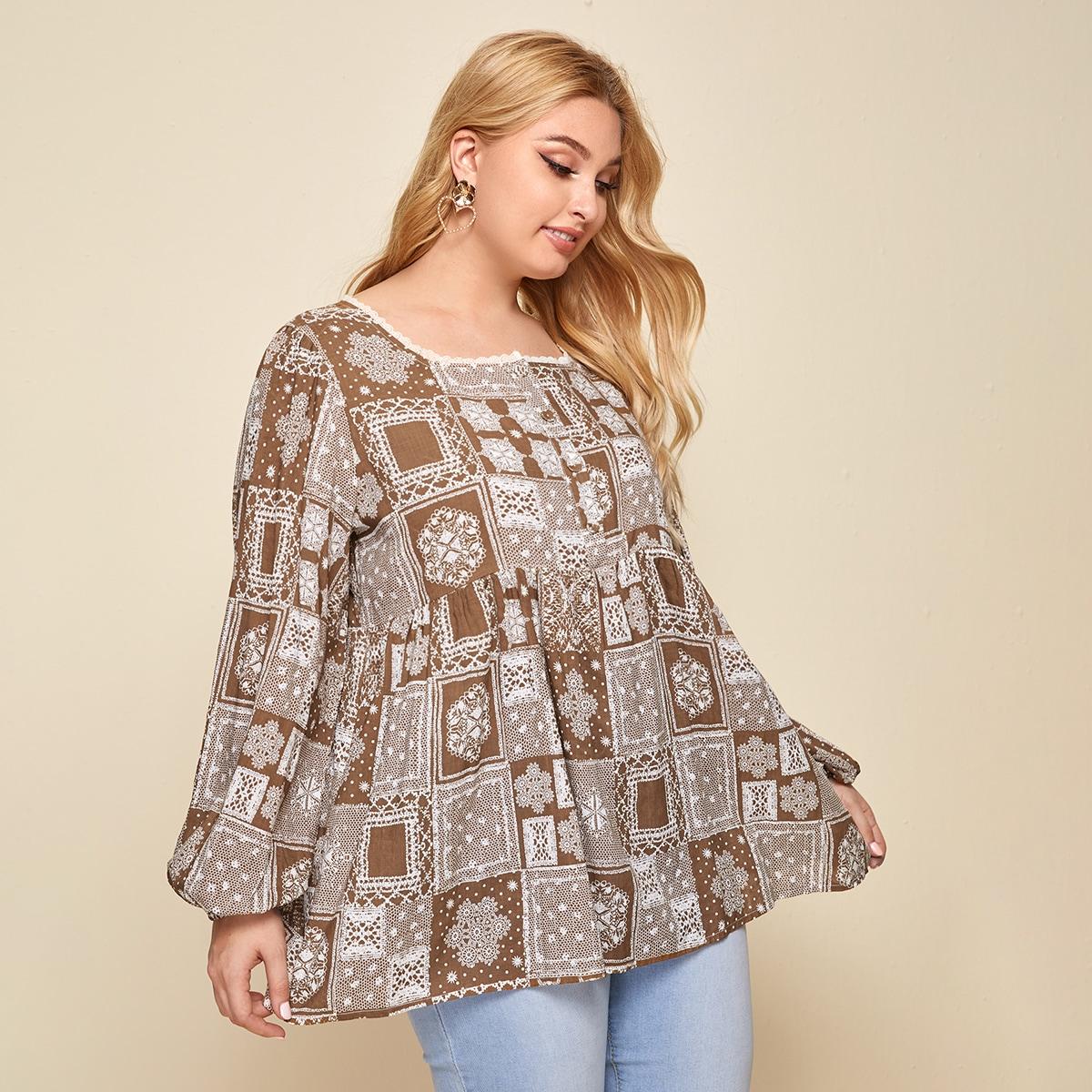Низ-оборка Лоскутный Бохо Блузы размер плюс