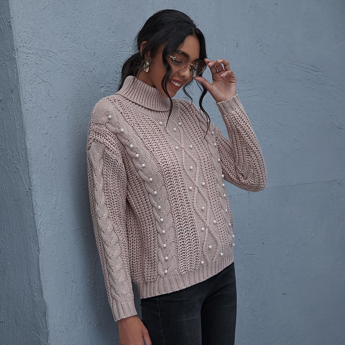 SHEIN / Pullover mit Rollkragen und Perlen