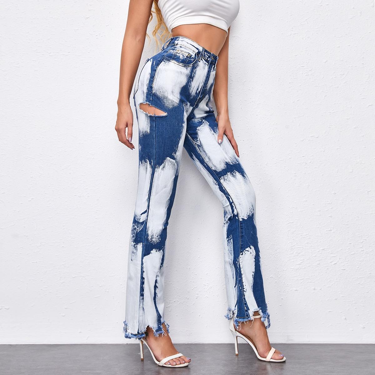 Контрастные расклешенные джинсы