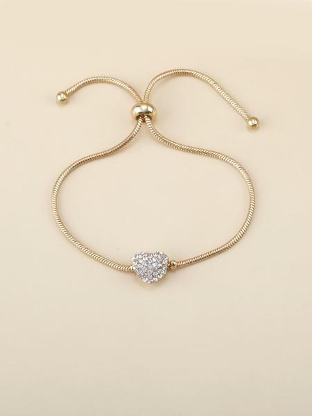 Rhinestone Heart Charm Chain Bracelet
