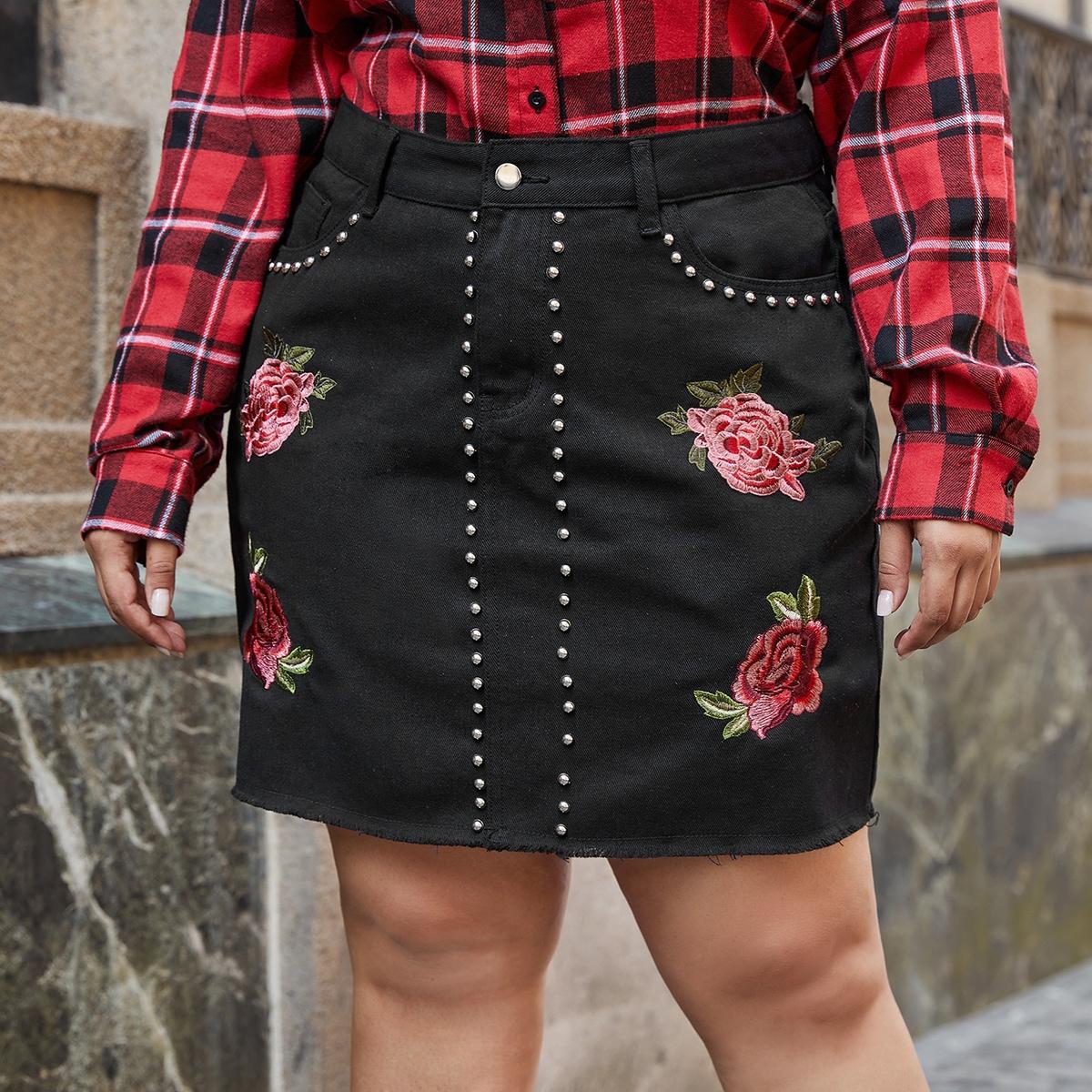 с бисером Со цветочками Повседневный Джинсовые юбки размер плюс