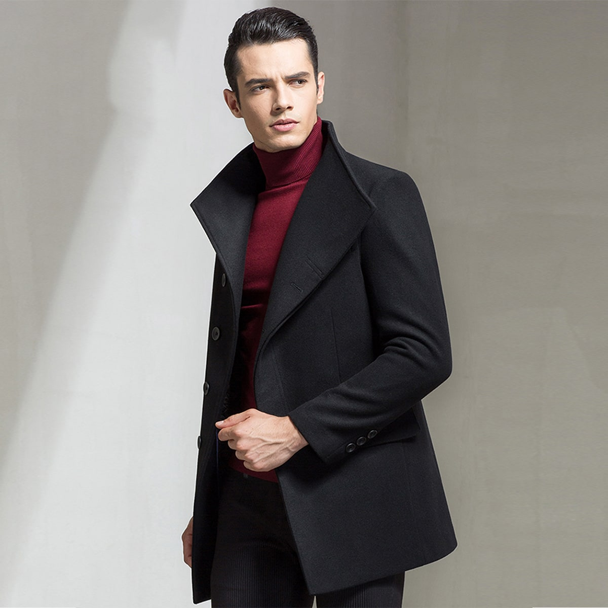 Men Solid Funnel Neck Single-breasted Overcoat
