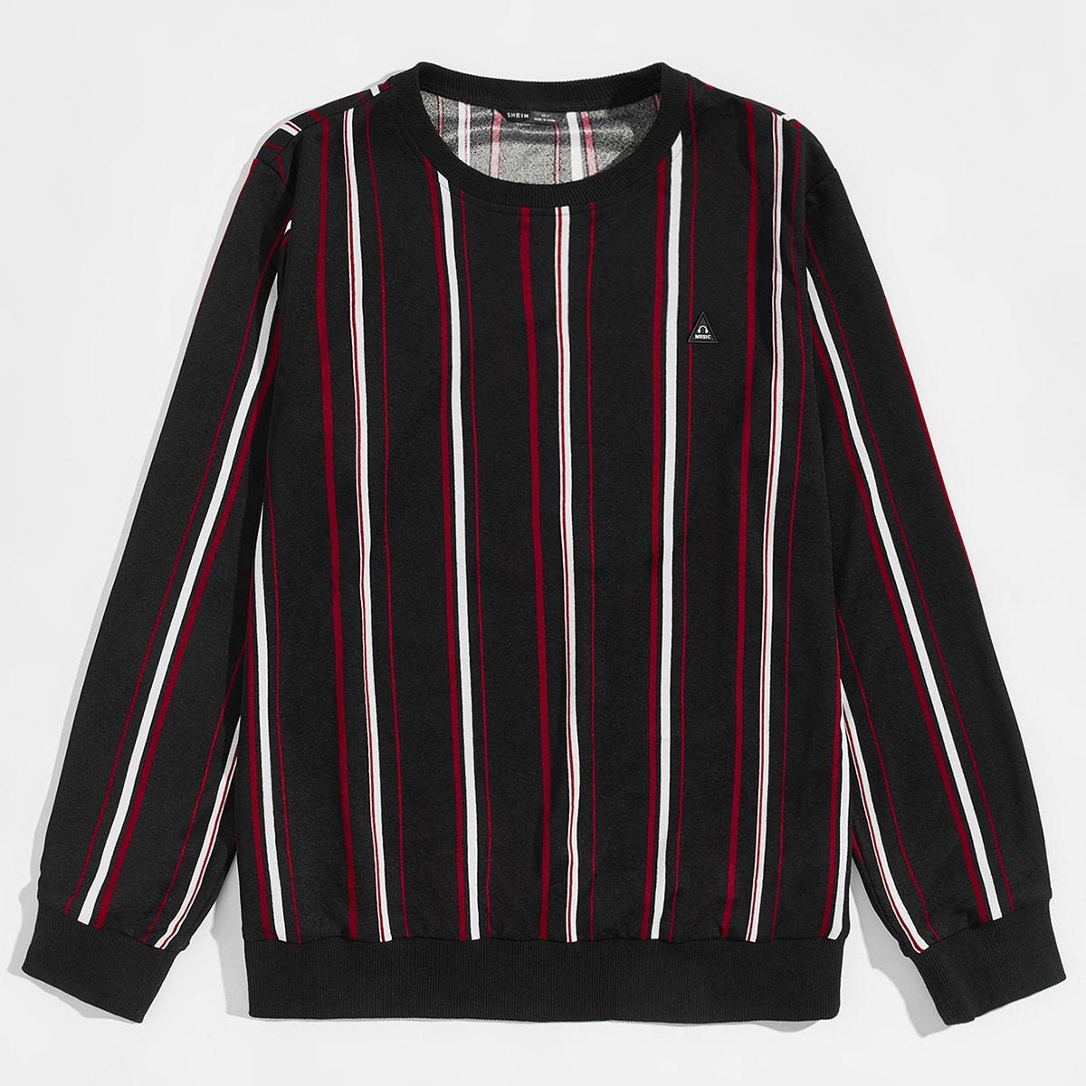 Мужской пуловер в полоску с заплатой улыбки от SHEIN