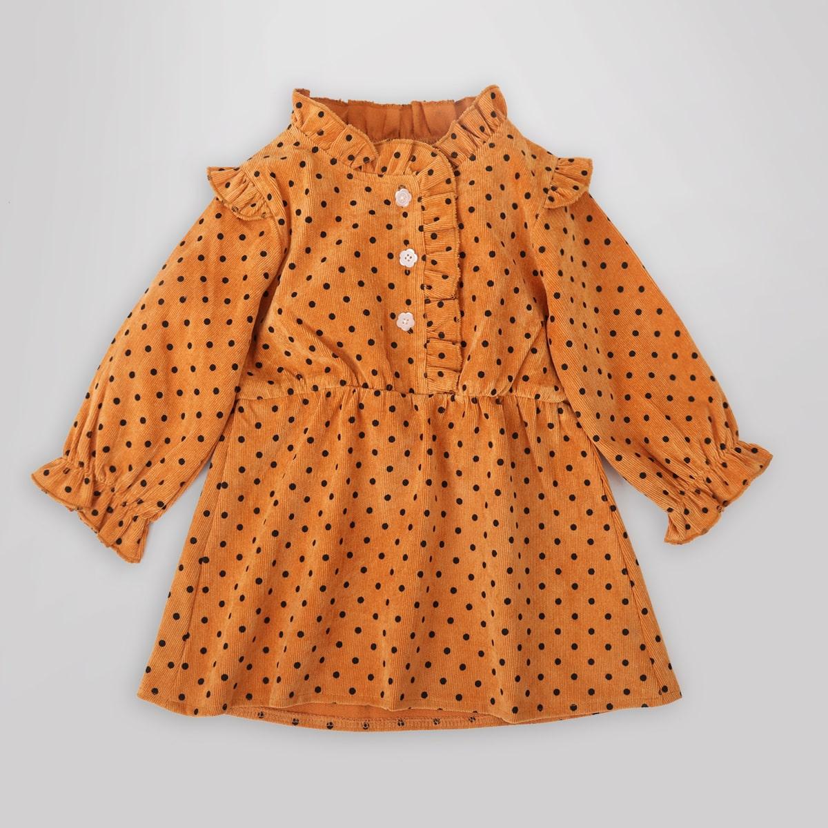 shein Schattig Stippen Baby-jurk Ruches