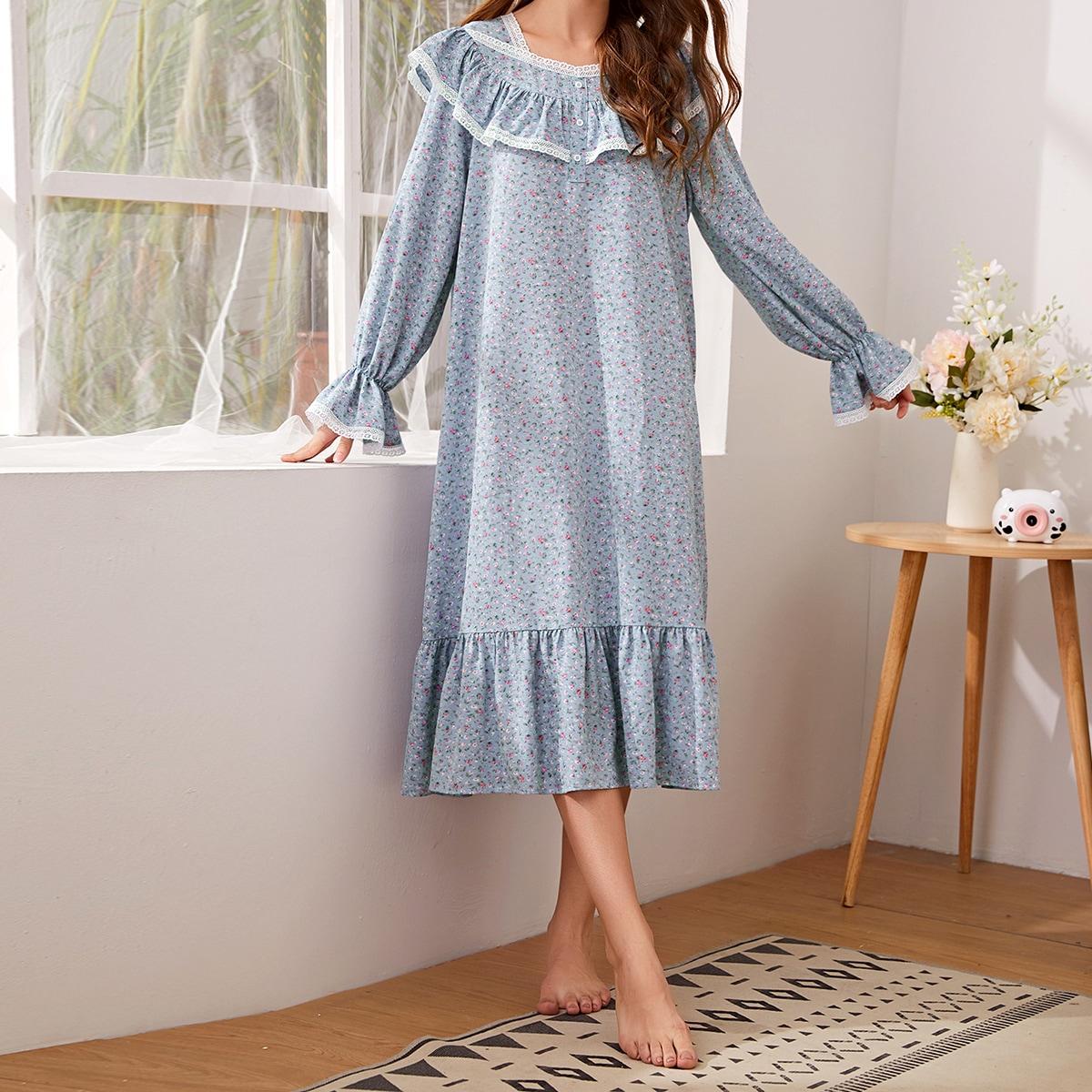 SHEIN / Nachtkleid mit Knöpfen vorn, Spitzen und Gänseblümchen Muster