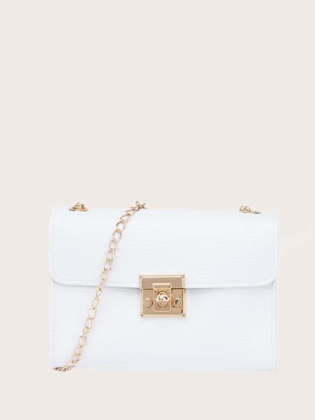 Faux Lizard Leather Chain Crossbody Bag