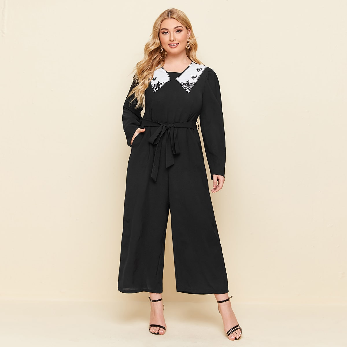 SHEIN / Plus Floral Embroidery Belted Jumpsuit