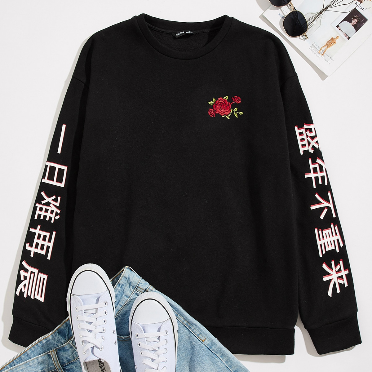 Мужской пуловер с цветочной вышивкой и текстовым принтом от SHEIN
