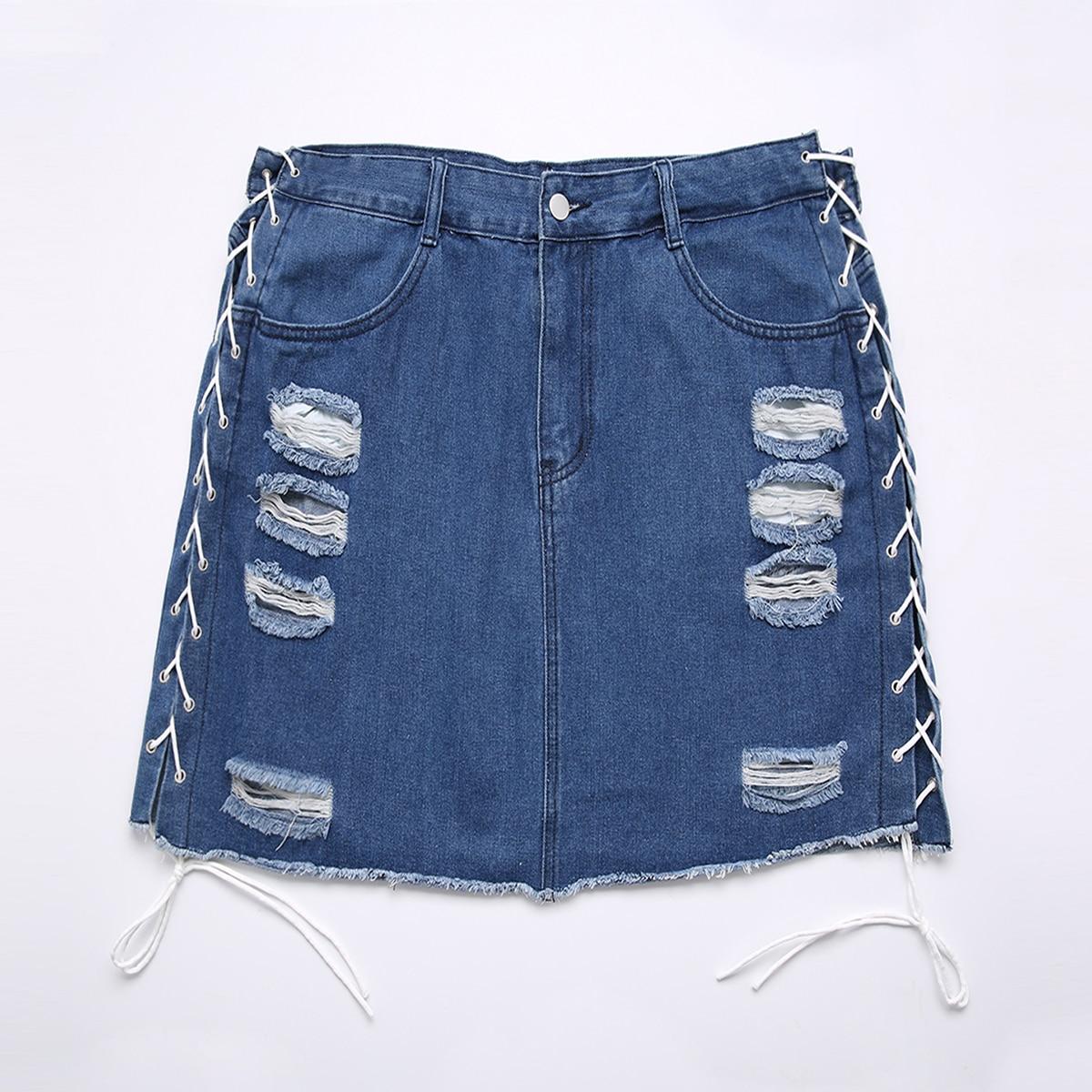 Рваная джинсовая юбка размера плюс со шнурком