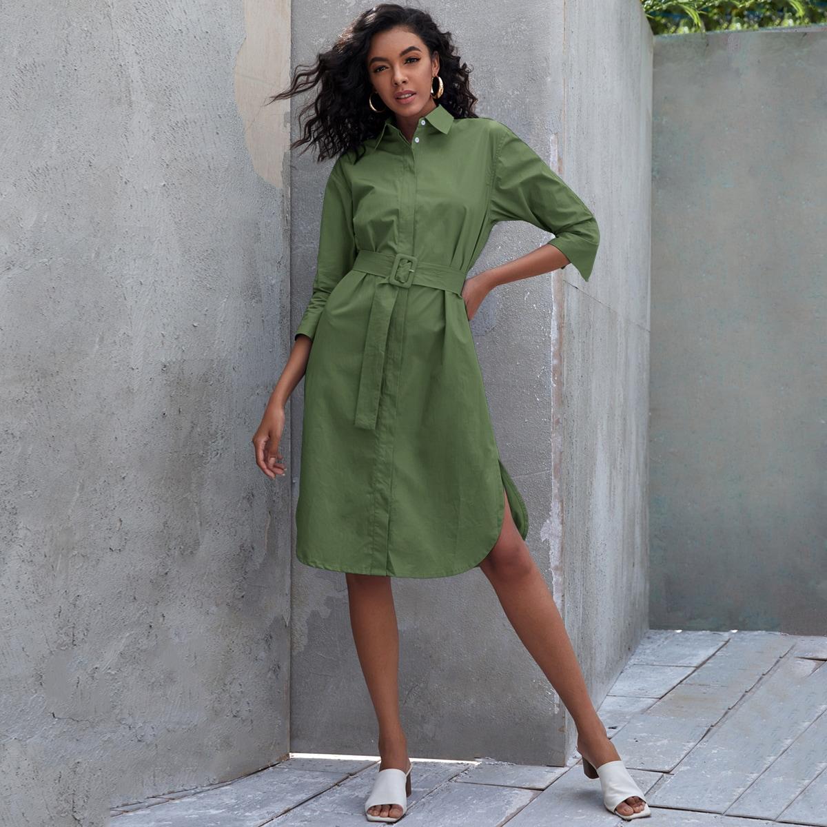 SHEIN / Solid Curved Hem Shirt Dress With Belt