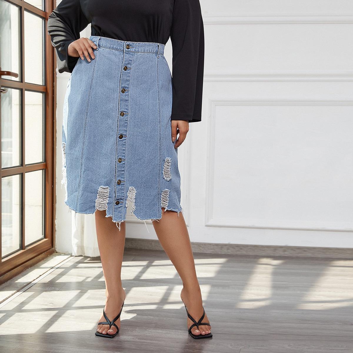 Джинсовая юбка размера плюс без пояса