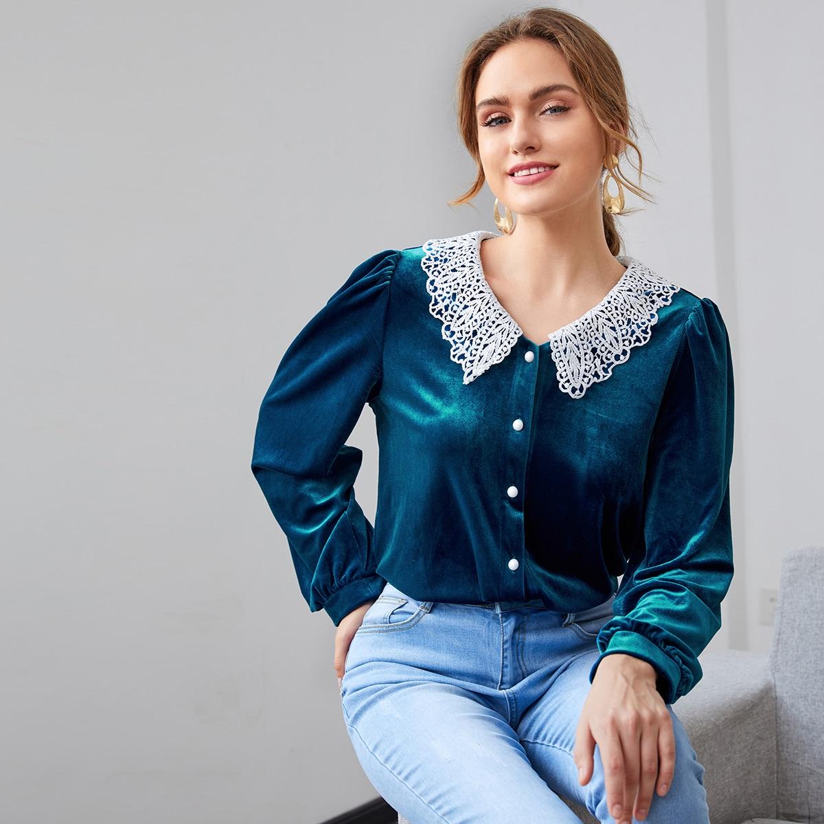 SHEIN / Blusas Encaje en contraste Elegante