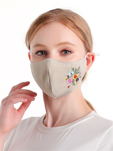 Embroidered Floral Print Face Mask