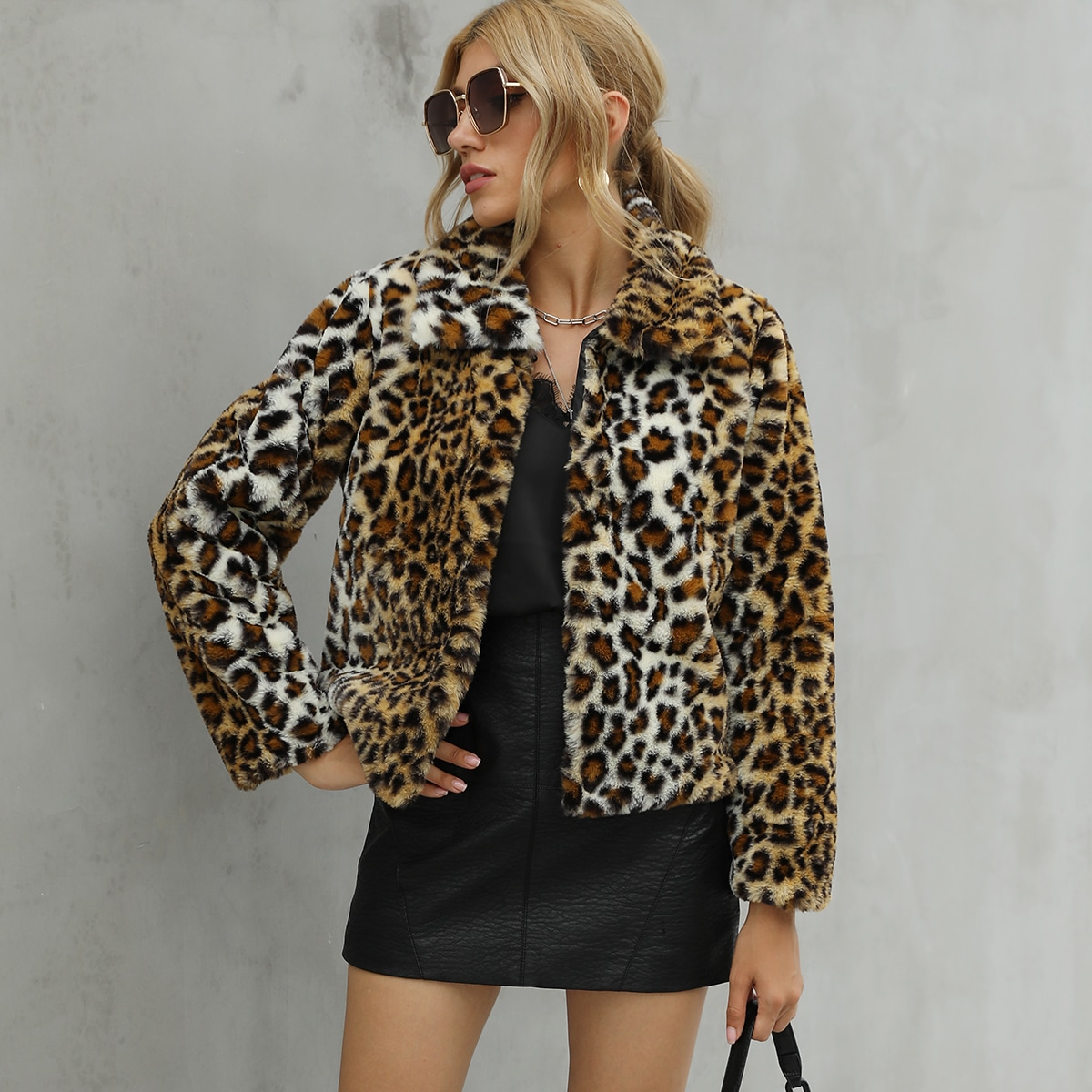 Леопардовый Повседневный Пальто