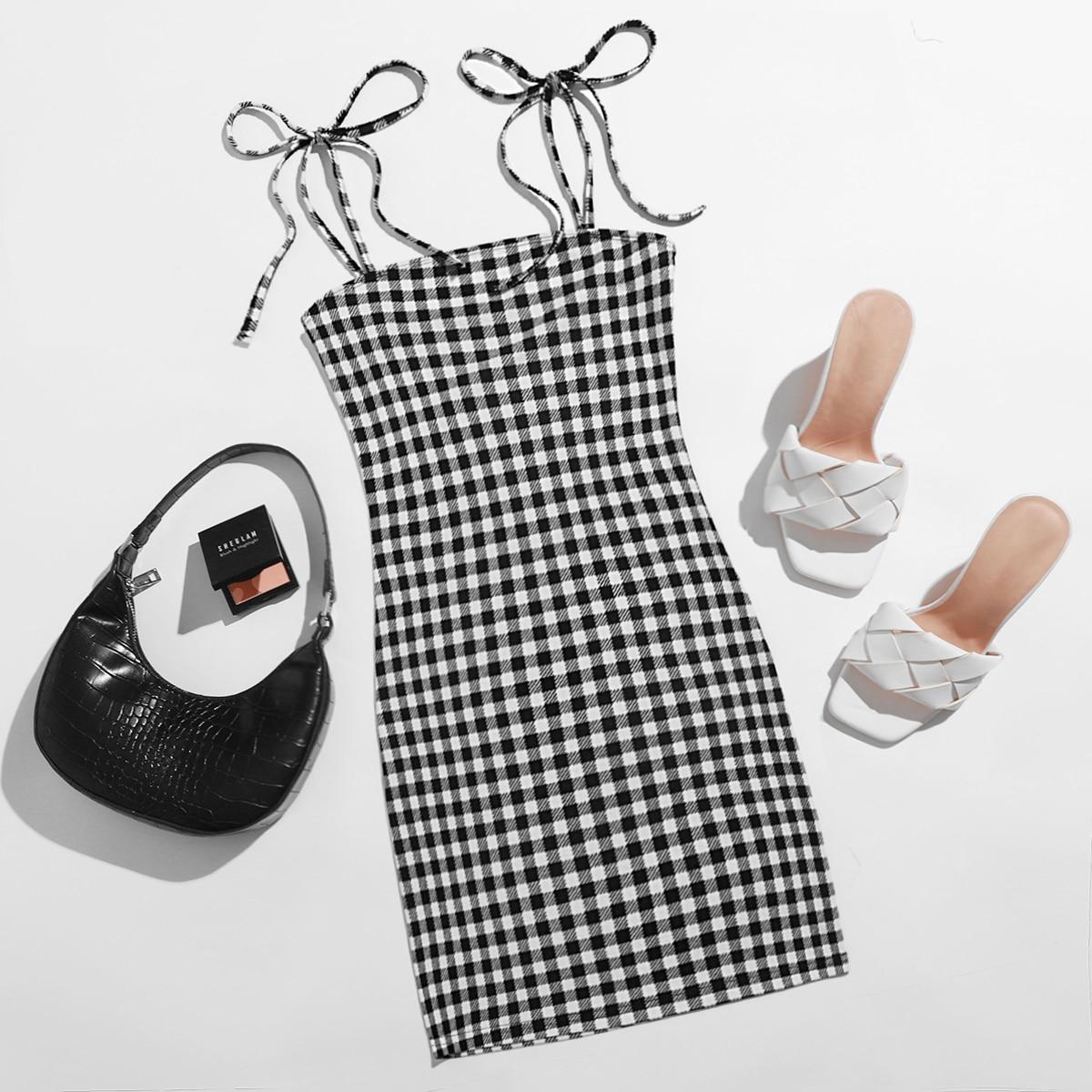 SHEIN / Kleid mit Knoten auf Schulter und Karo Muster