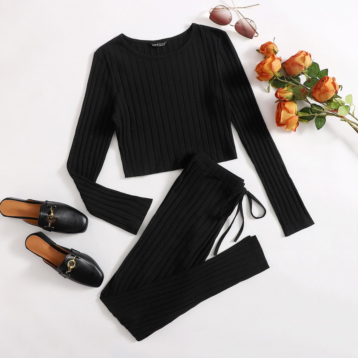 SHEIN / Solid Rib-knit Tee & Knot Front Leggings Set