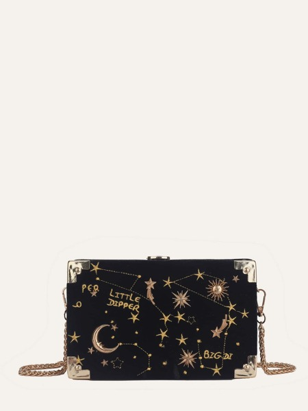 Star & Moon Embroidered Box Clutch Bag