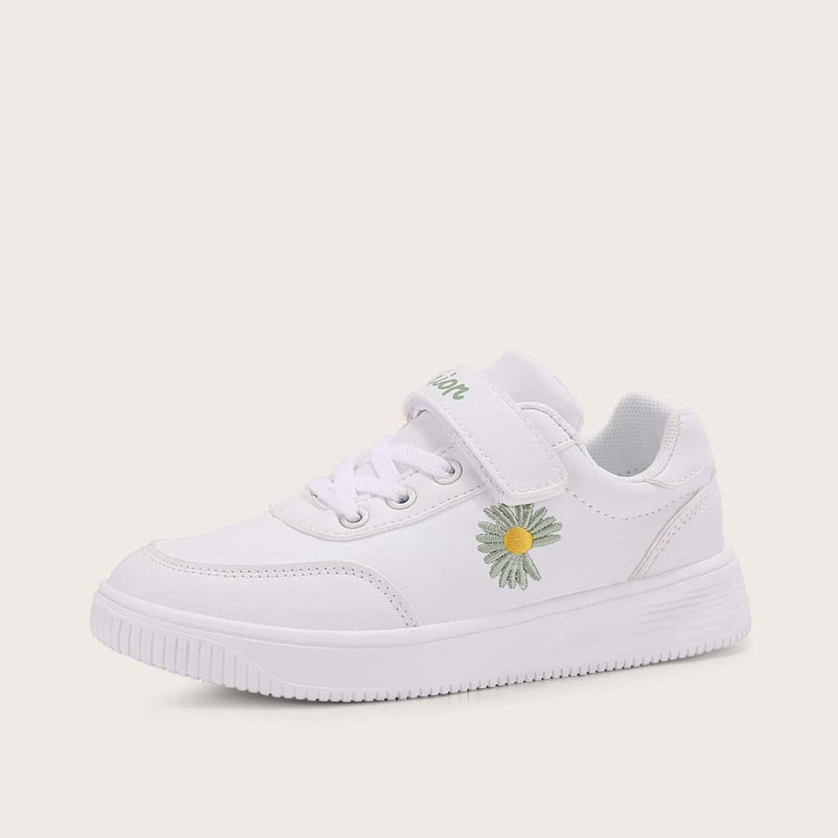 Туфли с цветочной вышивкой для девочек от SHEIN