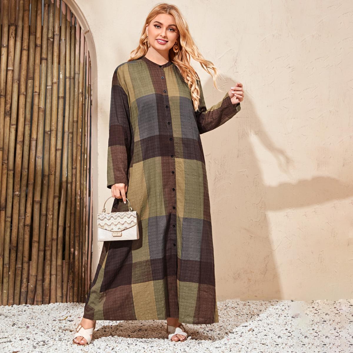 SHEIN / Maxi Kleid mit Karo Muster und Knöpfen vorn