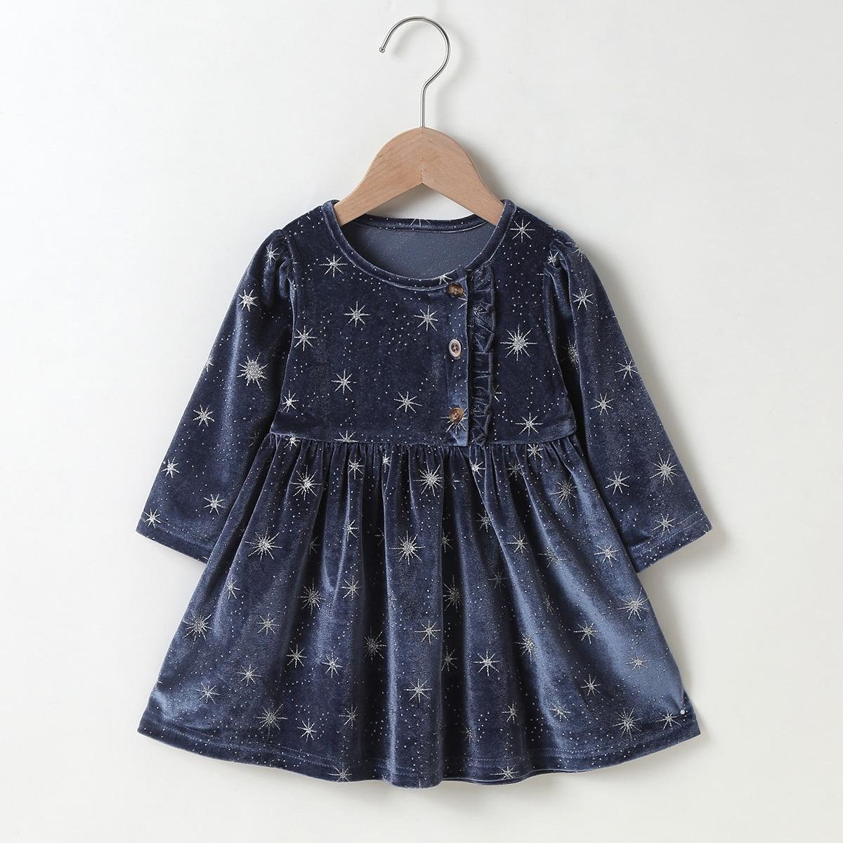 shein Betoverend Melkweg Baby-jurk Rimpeling