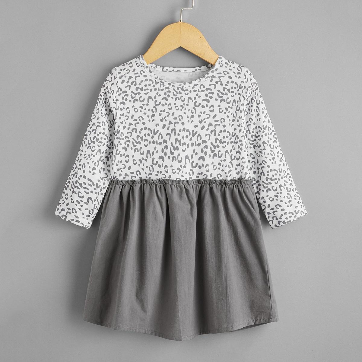 shein Casual Kleurblok Baby-jurk Ruches