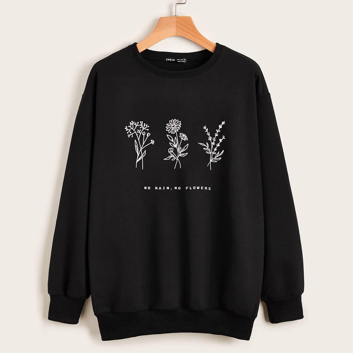 SHEIN / Floral & Slogan Graphic Drop Shoulder Sweatshirt